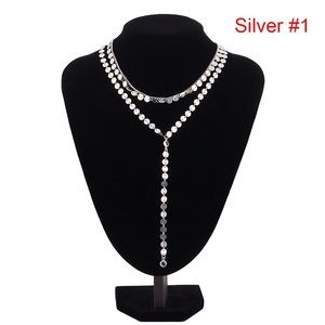 NWT Silver multilayer coin/disc choker necklace ❤️